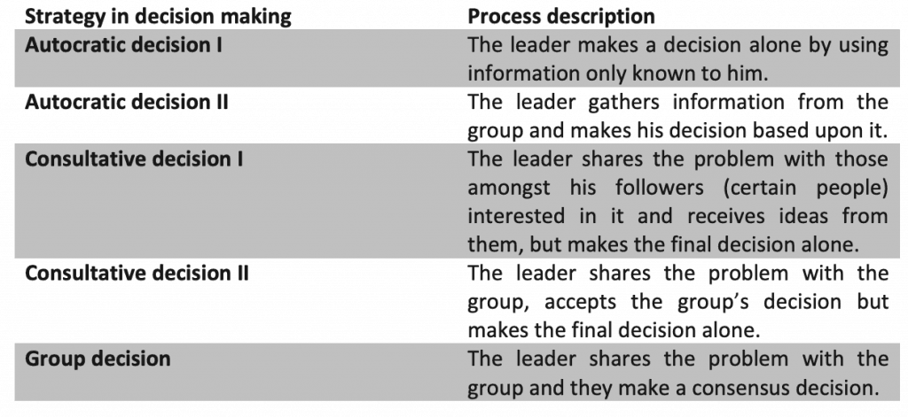 Strategy model of decision making